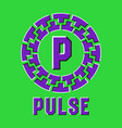 optical illusion pulse logo in round moving frame vector image