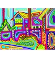 original artwork of decorative rural landscape vector image