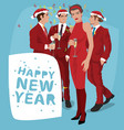 people in red suits are celebrating new year vector image