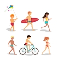 People on the beach in flat style design vector image vector image