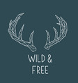polygonal deer horns with lettering wild and free vector image