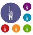 radio transmitter icons set vector image vector image