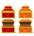 red and orange magic chests open and close vector image vector image