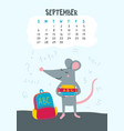 september calendar page with cute rat back vector image