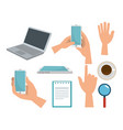 set laptop with smartphone and tablet technology vector image