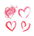 set watercolor hearts on white background vector image vector image