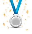 silver medal for second winner prize metal vector image