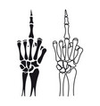 skeleton hand shows middle finger vector image vector image