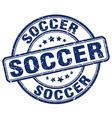 soccer blue grunge round vintage rubber stamp vector image vector image