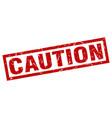 Square grunge red caution stamp