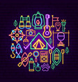 summer camp neon concept vector image vector image