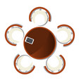 top view dining room interior with round table vector image