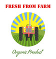 tractor logo with farm landscape and sun for label vector image vector image