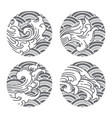 traditional water wave line art in moon shape vector image vector image