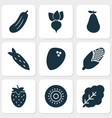 vegetable icons set with coconut maize natural vector image vector image