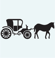 Vintage carriage and horse-drawn vector image