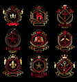 vintage decorative heraldic emblems composed vector image vector image