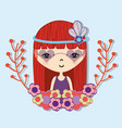 woman with flower in the head and branches flowers vector image vector image