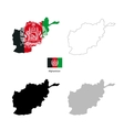 Afghanistan country black silhouette and with flag vector image