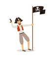 brave pirate character with jolly roger flag vector image