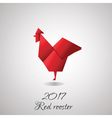 Red Rooster in Origami Style icon vector image