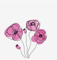 abstract outline flowers on white vector image vector image
