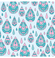 Autumn seamless blue ornamental pattern with rain vector image vector image