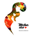 beautiful pregnant profile mother silhouette vector image