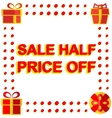 Big winter sale poster with SALE HALF PRICE OFF vector image