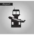 black and white style icon plane takeoff airport vector image vector image