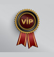 black vip badge with red ribbons vector image vector image