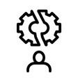 broken gear man icon outline vector image