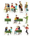 cafe visitors flat icons set vector image