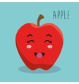 cartoon apple fruit facial expression design vector image vector image