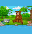 cartoon brown bear family in the forest vector image vector image