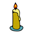 cartoon candle with fire isolated on white vector image vector image