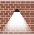 ceiling lamp with bright light on brick wall vector image