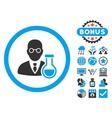 Chemist Flat Icon with Bonus vector image