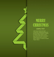 Christmas card with tucked green folded tree paper vector image vector image