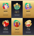 christmas greeting cards set with gold and dark vector image