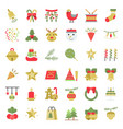 christmas ornaments icon set flat design for use vector image vector image