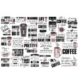 collection coffee phrases slogans or quotes vector image