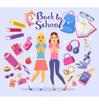 colorful of two young girls with books back vector image