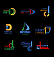 company identity symbols with letter d vector image vector image