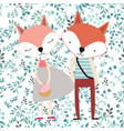 cute cartoon fox couple in blue spring seamless vector image