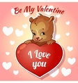 Cute teddy bear for Valentines Day vector image vector image