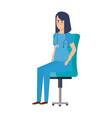 female practitioner in office chair vector image