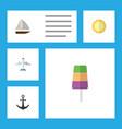 flat icon beach set of yacht sundae ship hook vector image vector image