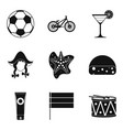 football show icons set simple style vector image vector image