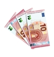 Forty euro in bundle of banknotes on white vector image vector image